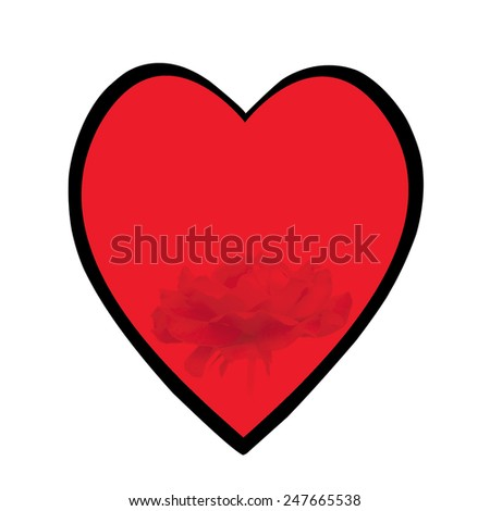 red heart with black border and  rose inserted on white background - stock photo