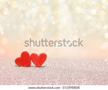 Red heart with bokeh background. Valentines day texture.