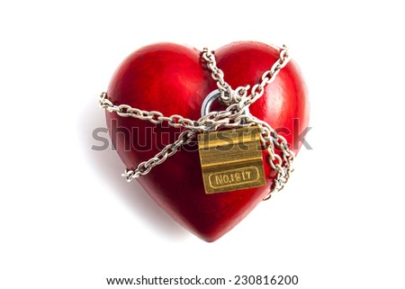 Red heart with chains isolated over white - stock photo