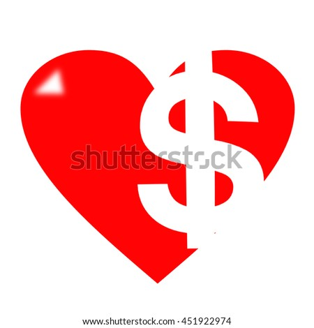 Red heart with dollar sign on white background