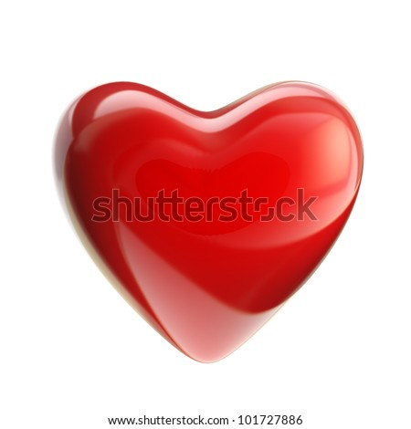Red heart with glossy reflections isolated on white