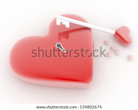 Red heart with key - stock photo