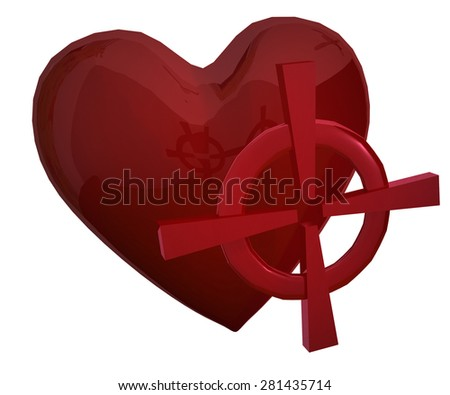 Red heart with red aim - stock photo