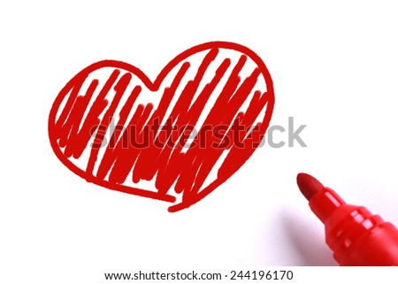 Red heart with red marker on white background. - stock photo