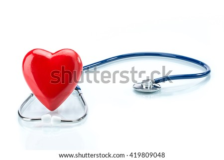 Red heart with stethoscope isolated on white background, healthcare