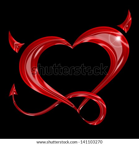 red heart with tail and horns on black background
