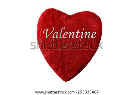 red heart with valentine writing