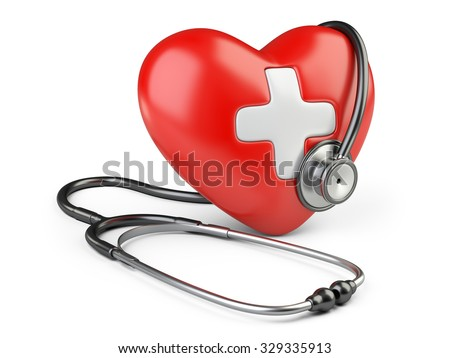 Red heart with white cross and a stethoscope, isolated on white background 3d image.
