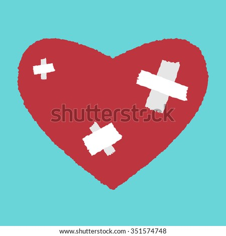 Red heart with white patches. Medicine, health care, relationship, love concept - stock photo