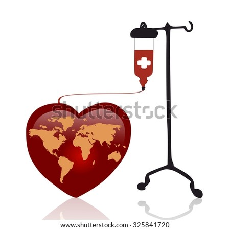 red heart with world map and transfusion - stock photo