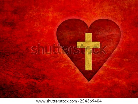 red heart with yellow cross inside on a red textured background - stock photo