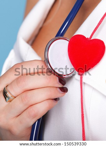 red heart woman in nurse suit with stethoscope blue background