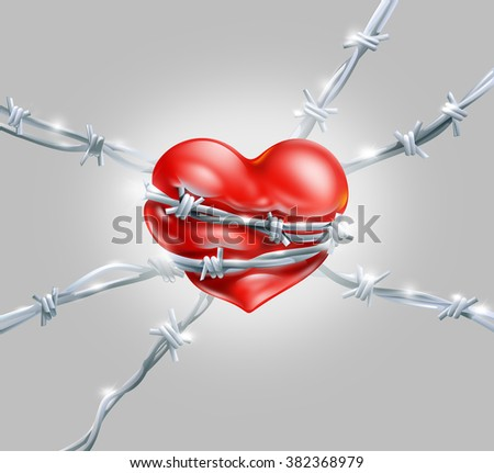 Red Heart Wrap Enclosed Barbed Metal Stock Illustration 382368979