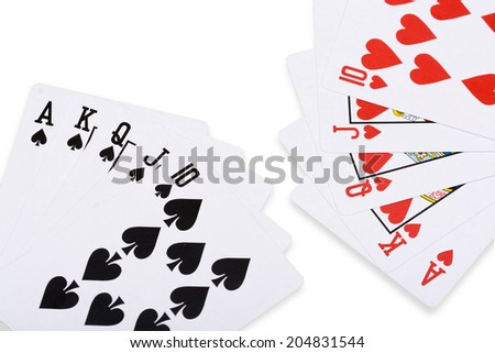 Red hearts and black spade royal straight flush poker card - stock photo