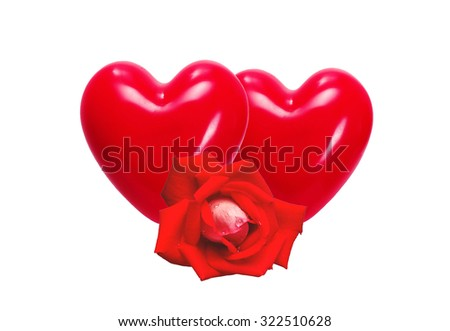 Red hearts and rose isolated on white background