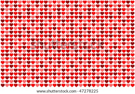 Red hearts background on white - stock photo