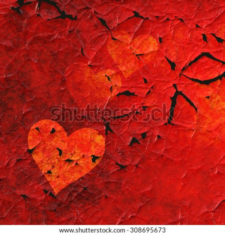 Red Hearts Background With Peeling Paint Effect.