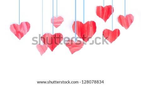 Red hearts confetti Valentine's day on White background.