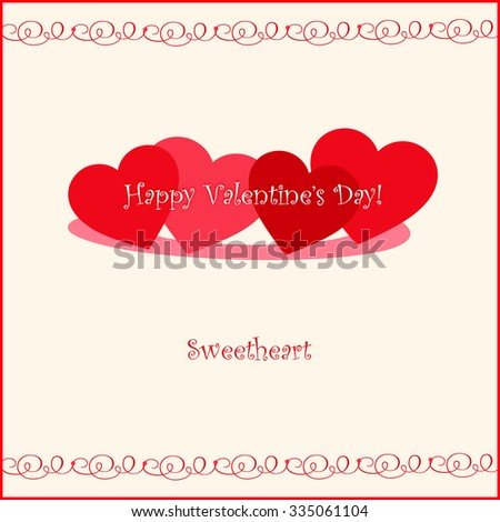 Red Hearts - Happy Valentine's Day! - Sweetheart - stock photo