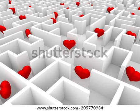 Red hearts in the endless white maze  - stock photo