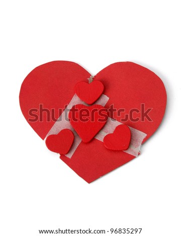 red hearts , isolated on white background
