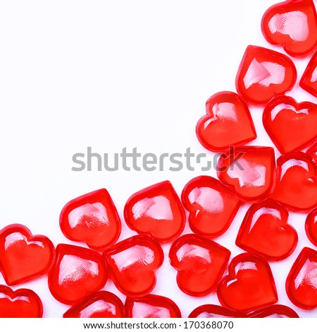 Red Hearts isolated on white background with space for the text. Valentine's Day.