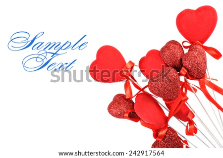 Red hearts on a white background - stock photo