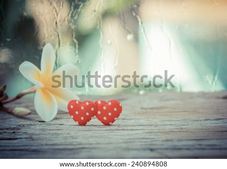 Red hearts on wood ,Valentines Day background. - stock photo