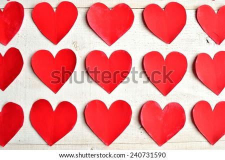 Red hearts.paper cut out.Image of Valentines day - stock photo