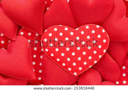 Red hearts stickers background. Valentine decorations.  - stock photo