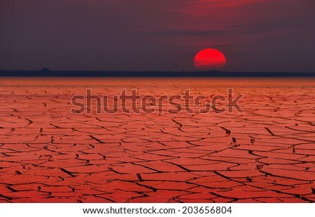Red heat or global warming - stock photo