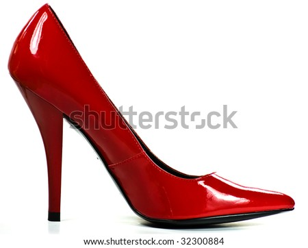 red heel on white background - stock photo