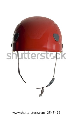 red helmet close up shoot on white - stock photo