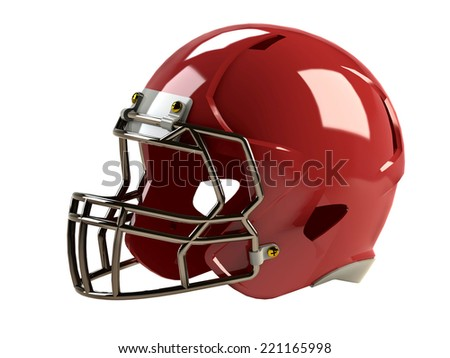 red helmet for a american football game. 3D - stock photo