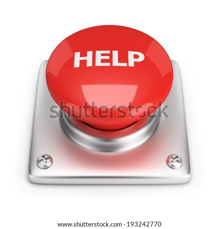 Red help button. 3d image. White background. - stock photo