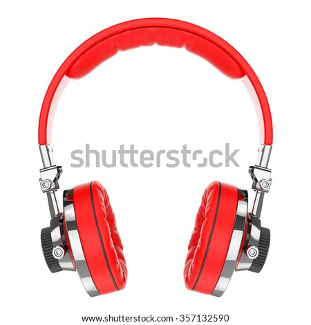 Red Hi-Fi professional headphones isolated on white background 3d - stock photo