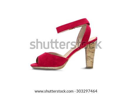 Red high heeded shoe on white background - stock photo