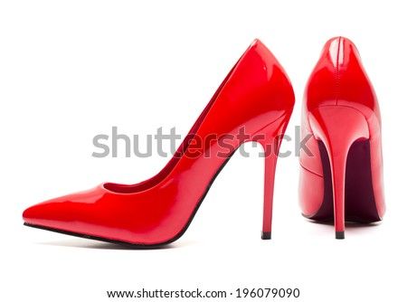 Red high heel shoes isolated on white background - stock photo