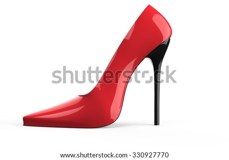 Red high heel women shoe isolated on a white background