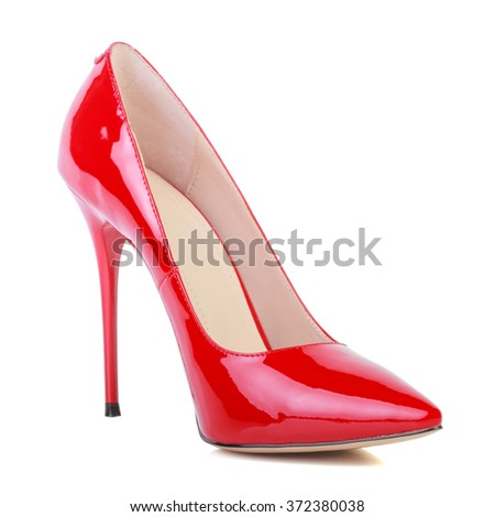 Red high heel women shoe isolated on white background