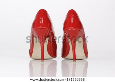 Red high heel women shoes - stock photo