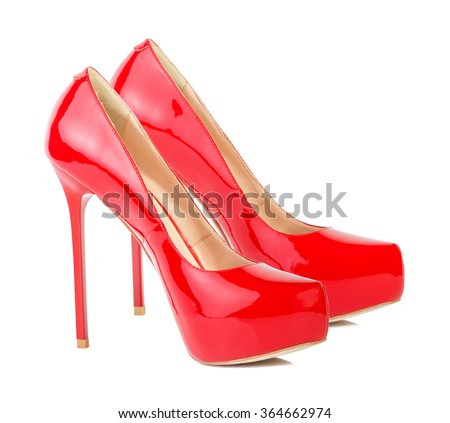 Red high heel women shoes isolated on white background