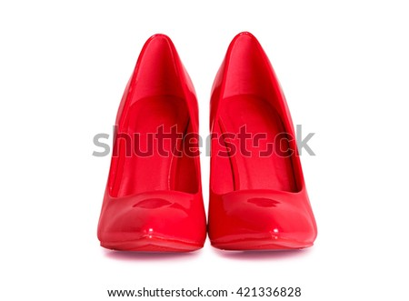 Red high heels shoes isolated on white background. Mask shape with clipping path.  - stock photo
