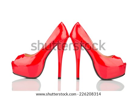 red high heels, symbol photo for fashion, elegance and eroticism - stock photo