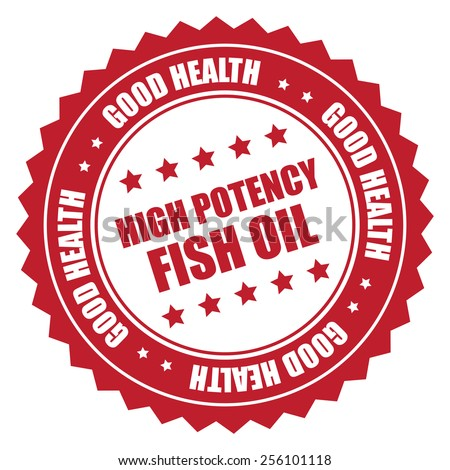 red high potency fish oil good health sticker, badge, icon, stamp, label isolated on white  - stock photo