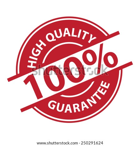 Red 100% High Quality Sign, Icon, Label or Sticker Isolated on White Background  - stock photo