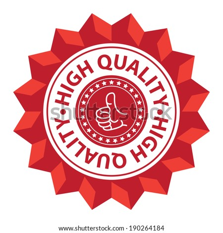 Red High Quality With Thumb Up Sign Icon, Label or Sticker Isolated on White Background