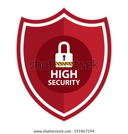 Red High Security Shield, Icon, Label, Sticker or Badge Isolated on White Background  - stock photo