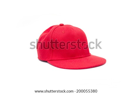 Red Hip-hop hat isolate on white background,cap - stock photo
