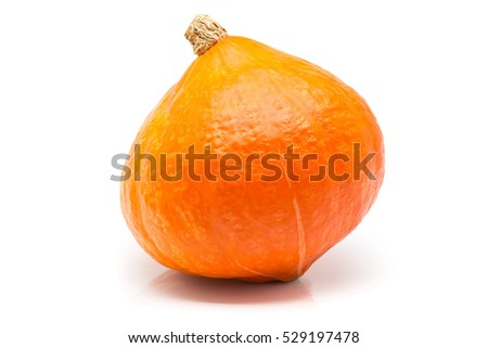 Red hokkaido squash (also called red kuri squash) over white background